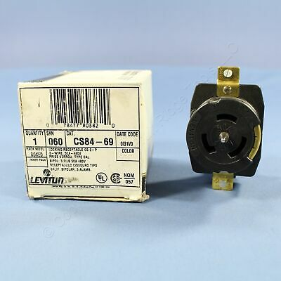 New Leviton California Twist Locking Receptacle CS Outlet 50A 480V CS84-69 Boxed
