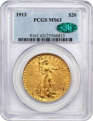 1913 $20 PCGS/CAC MS63 - Scarce Date - Saint Gaudens Double Eagle - Gold Coin