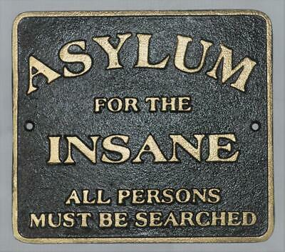 Cast Iron Wall Sign - ASYLUM FOR THE INSANE - 26cm x 23cm - Peaky Blinders