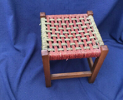 Vintage retro foot stool, Red and Green woven string seat, 1970s