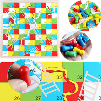 Traditional Wooden Snakes and Ladders Family Board Game Playset