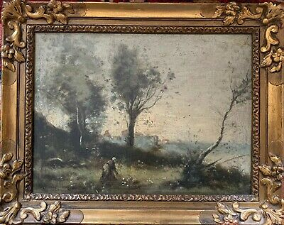 Corot School - Fine 19Th Century Barbizon Oil Painting On Panel - Figure / River