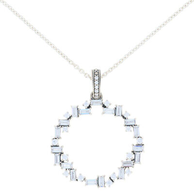 "NEW Authentic Pandora Sparkling Ice Cube Necklace 17.7"" Sterling 397546CZ-45"