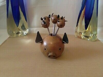 MID CENTURY MODERN Wooden pig piglets /cocktail forks prongs kitch retro...