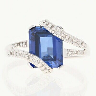 Synthetic Sapphire & Diamond Bypass Ring - 10k White Gold 2.77ctw