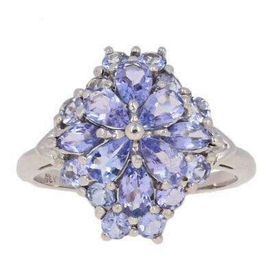 1.15ctw Pear Cut Tanzanite Ring - 10k White Gold Cluster