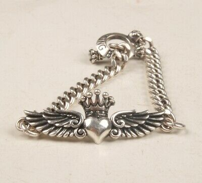 China 925 Silver Real Silver Hand Carving Heart-Shaped Wing Bracelet Lucky Old