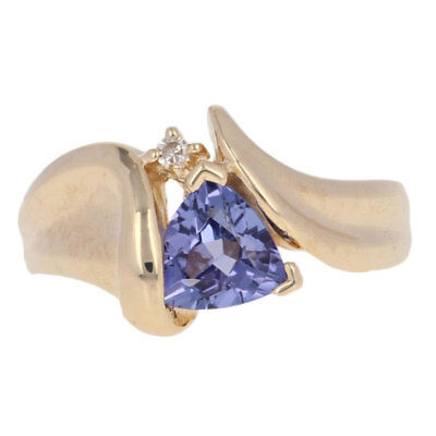 .77ctw Trillion Cut Tanzanite & Diamond Ring - 14k Yellow Gold Bypass