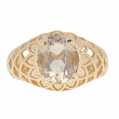 2.25ct Oval Smoky Quartz Solitaire Ring - 14k Yellow Gold Lattice
