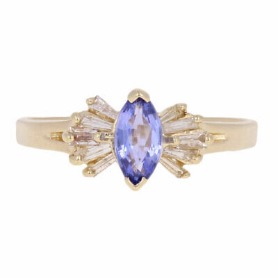 .63ctw Marquise Tanznaite & Diamond Ring - 14k Yellow Gold Size 7