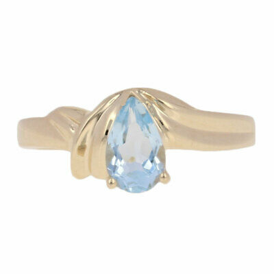 .75ct Pear Cut Aquamarine Ring - 10k Yellow Gold Solitaire