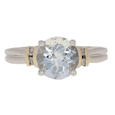 2.27ctw Round Brilliant Aquamarine & Diamond Ring - 10k White Gold 6 3/4 - 7