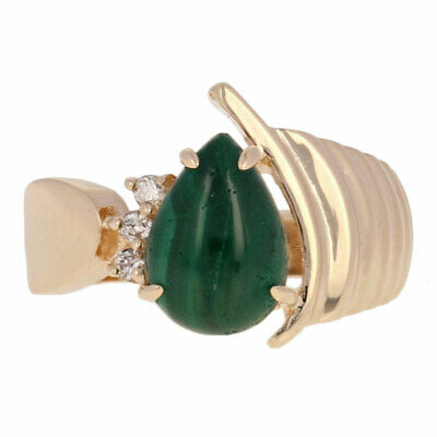 Malachite & Diamond Ring - 14k Yellow Gold Ribbed