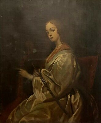 Huge German Antique Oil - Portrait Of Mary Ruthven With Cello - After Van Dyck