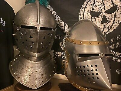 Medieval Knight Helms Closed Face Steel
