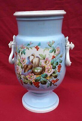 Old Paris Porcelain Urn Vase Doves on Nest Hand Painted 1880