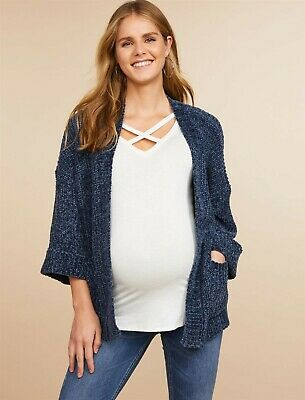 Jessica Simpson Open Front Pocket Maternity Sweater Chenille Blue Small Soft NEW
