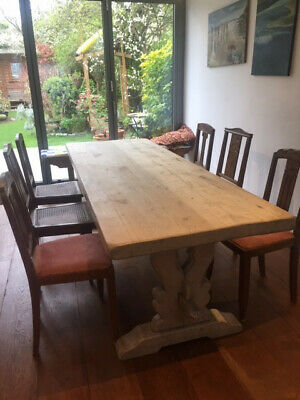 Refectory Table: Large French Bleached Effect 1930's/40's Solid Oak