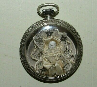 Vintage Encased Miniature Porcelain Doll in Keystone Nickeloid Watch Case