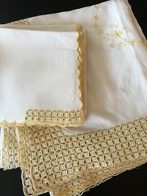 Lovely Madeira Embroidered Banquet Tablecloth,Napkins,