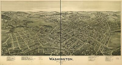 Reprinted Vintage Map of Washington Pennsylvania 1897.