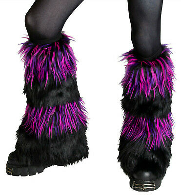 PAWSTAR Furry Leg Warmers - Fluffies Cheshire Cover Knee Black Purple [CHES]2555