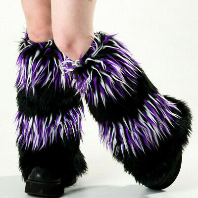 PAWSTAR Furry Leg Warmers - Fluffies Cover Knee Black White Purple [STAR]2555