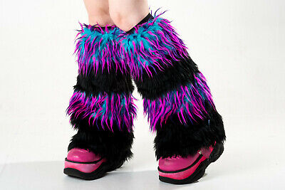 PAWSTAR Furry Leg Warmers - Fluffies Monster Cover Black Blue Pink [EFLM]2555