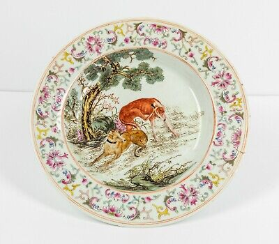 19th-20th Chinese Antique Hand Painted Rose Famille Porcelain Plate,1880-1910