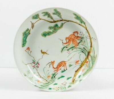 18-19th Chinese Antique Hand Painted Rose Famille Porcelain Dish