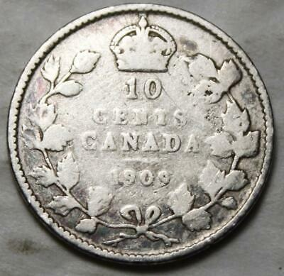 Canada 1909 Silver 10 Cents, Victorian Leaves, Old Date King Edward VII