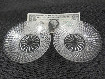 "EAPG 2 INVERTED DIVIDED DIAMOND Pressed Flint Glass Bowls 4"" w 16 Petal Bottom"