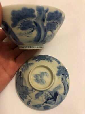 Chinese Antique Blue and White Porcelain Tea Cup and Lid Vintage Asian Old China