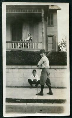 SMILING YOUNG BOY PLAYING BASEBALL w MOM on PORCH SWING ANTIQUE PHOTO SNAPSHOT