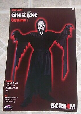 Scream 4 Ghost Face Halloween Costume Child Boys Fit up to size 12 NEW!