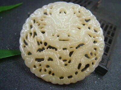 Antique Chinese Nephrite Celadon-HETIAN-OLD-Jade Hollow Dragon Statues/Pendant