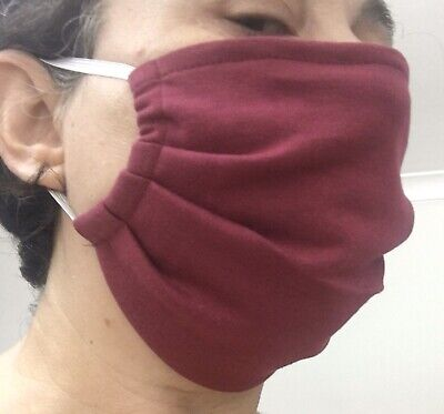 Handmade Face Mask For Adults 100% Cotton Double Jersey. Machine Washable Wine
