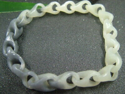 Chinese Antique Celadon Nephrite Hetian-Jade Concentric lock Bracelets626