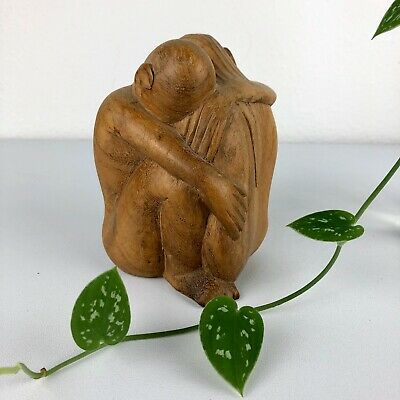 VINTAGE Hand Carved Wooden Symbol of Love Unity Man Woman Embrace Sculpture