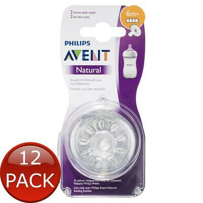 12 x AVENT NATURAL TEAT FAST FLOW - 6M+