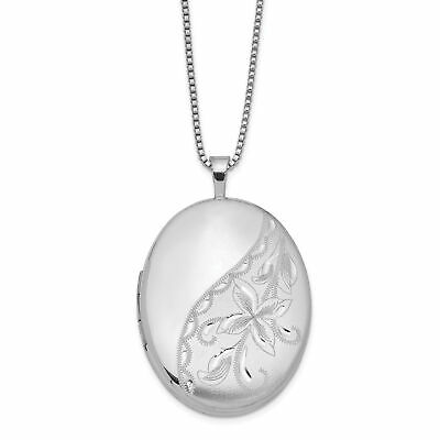 925 Sterling Silver Rhodium-Plated 21mm Oval with Butterfly and Cubic Zirconia Locket