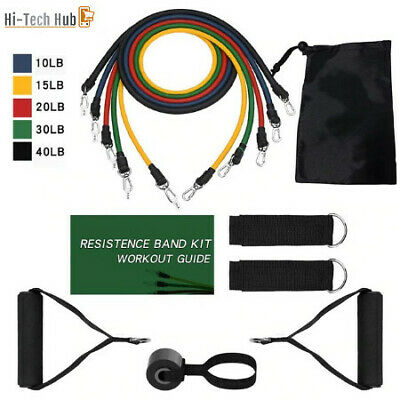 Yoga Resistance Bands Set Home Gym Sports Excercise Fitness Tubes 11 PIECE KIT