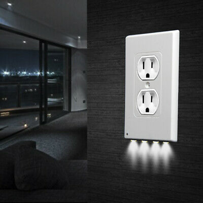 5 Pack Outlet Wall Plate 4 Led Night Lights Cover Duplex With Light Sensor