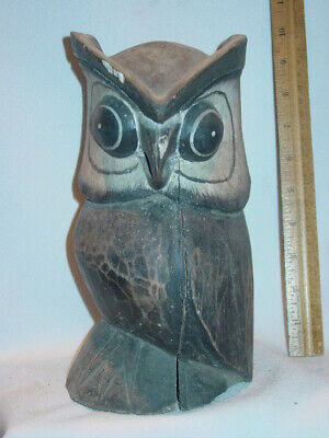 Old Maine Estate  Hand Carved Wood Owl AS FOUND
