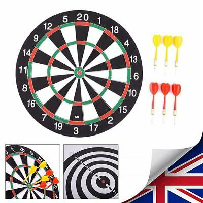 "UK Large 15"" Dart Board Set Dartboard Family Party Game Fun With 6 Darts Kids"