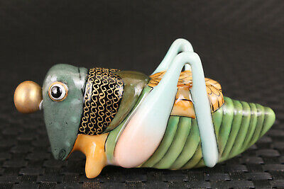 Chinese old  porcelain hand painting locust statue figure collectable