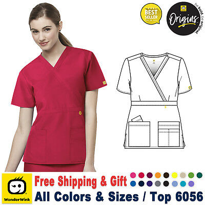 WonderWink Scrubs ORIGINS Women's Fashion Waist Y-Neck Top 6056