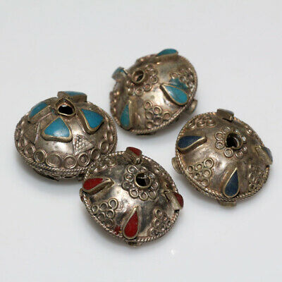 Lot Of 4 Hellenic Period Near East Large Size Silver Decorated Beads Ca 300-50 B