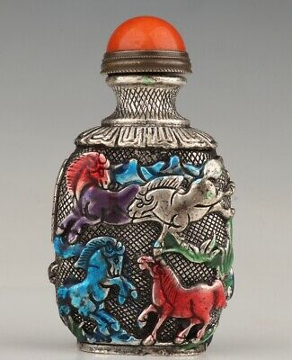 China Tibetan Silver Painted Snuff Bottle Statue Horse Mascot Gift Old