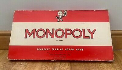 Monopoly Board Game Waddingtons Original Classic Vintage Red Box 1960's Edition